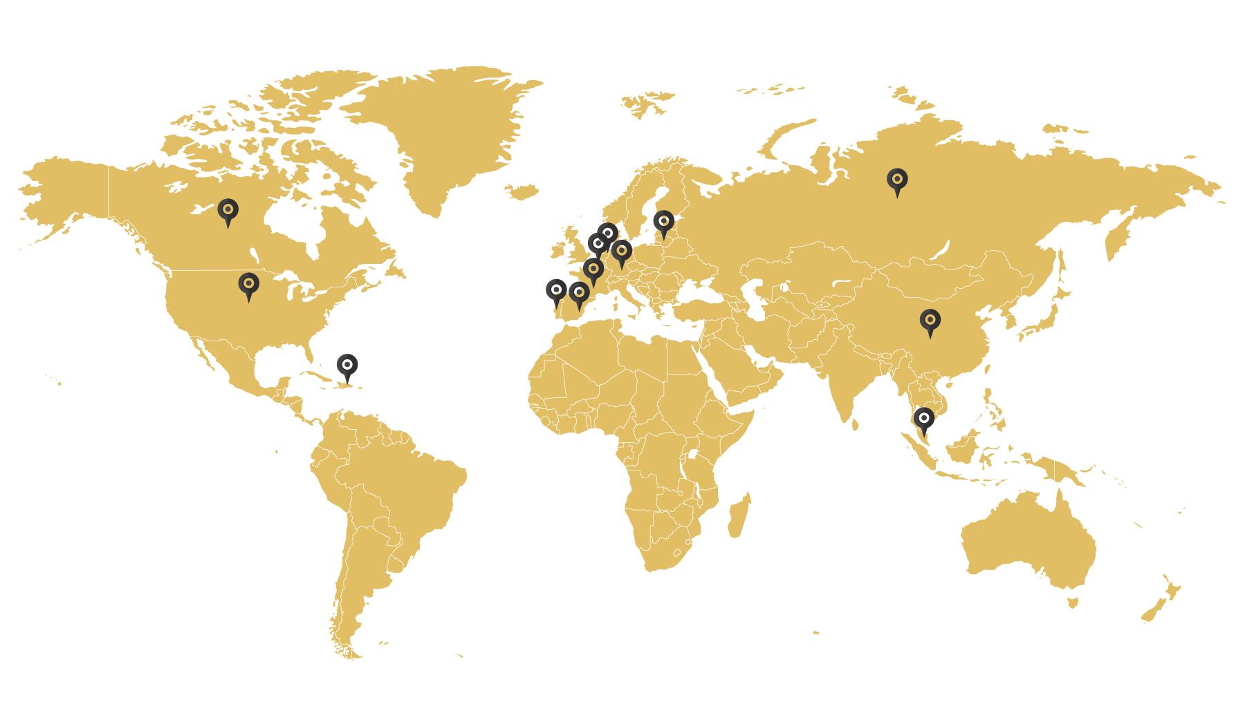 Mapa del mundo indicando donde se vende Pafritas